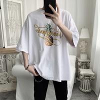 短句先生菠萝印花短袖男三色圆领套头夏季宽松T恤
