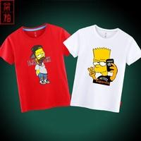 卡通动漫辛普森短袖T恤男女情侣新款夏季印花个性简约运动上衣潮