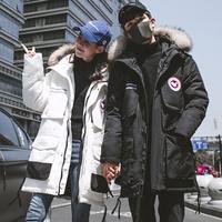 KAPPA羽绒服男女中长款加拿大毛领棉服情侣休闲潮流户外工装鹅款