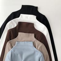 自留奶茶色半高领薄绒上衣女秋冬2018新款修身套头T恤 舒适打底衫
